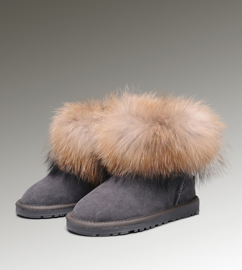 UGG Fox Fur Mini 5854 Grey Boots